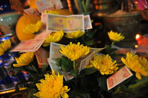 Offerings in a Hanoi buddhist temple