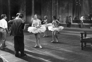 Behind the scenes at the grand opera and ballet theater of the ussr, ballet dancers at a rehearsal, january 1947.