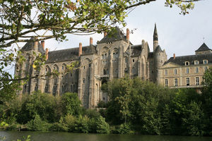 Solesmes benedictine abbey overlooking the Sarthe river